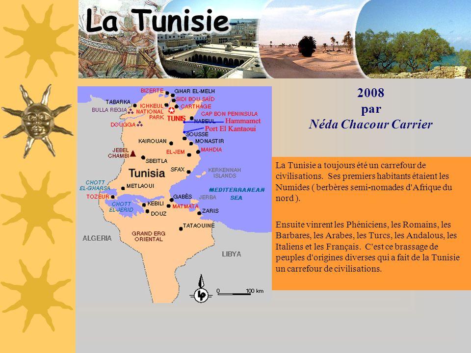 2008 par Néda Chacour Carrier La Tunisie a toujours été un carrefour de civilisations. Ses premiers habitants étaient les Numides ( berbères semi-noma