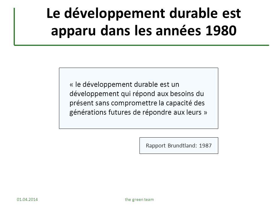 Le développement durable est apparu dans les années 1980 Rapport Brundtland: 1987 « le développement durable est un développement qui répond aux besoi