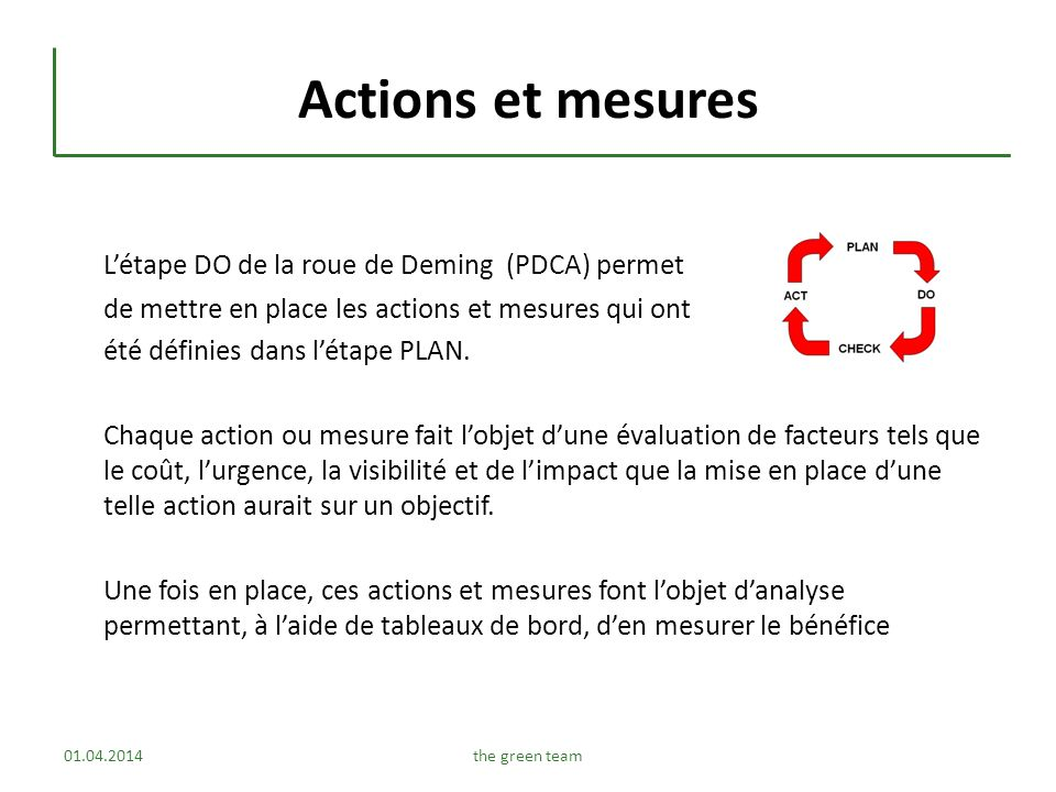 Actions et mesures Létape DO de la roue de Deming (PDCA) permet de mettre en place les actions et mesures qui ont été définies dans létape PLAN. Chaqu