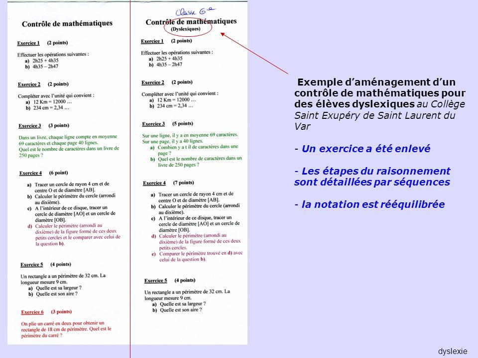 Exemple daménagement dun contrôle de mathématiques pour des élèves dyslexiques au Collège Saint Exupéry de Saint Laurent du Var - Un exercice a été en