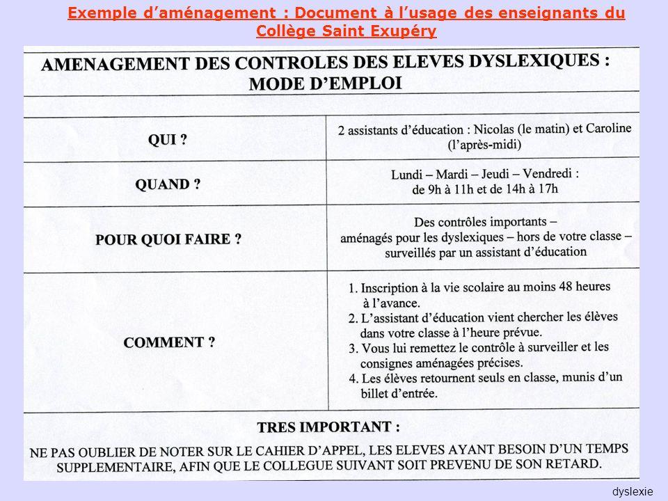 Exemple daménagement : Document à lusage des enseignants du Collège Saint Exupéry dyslexie