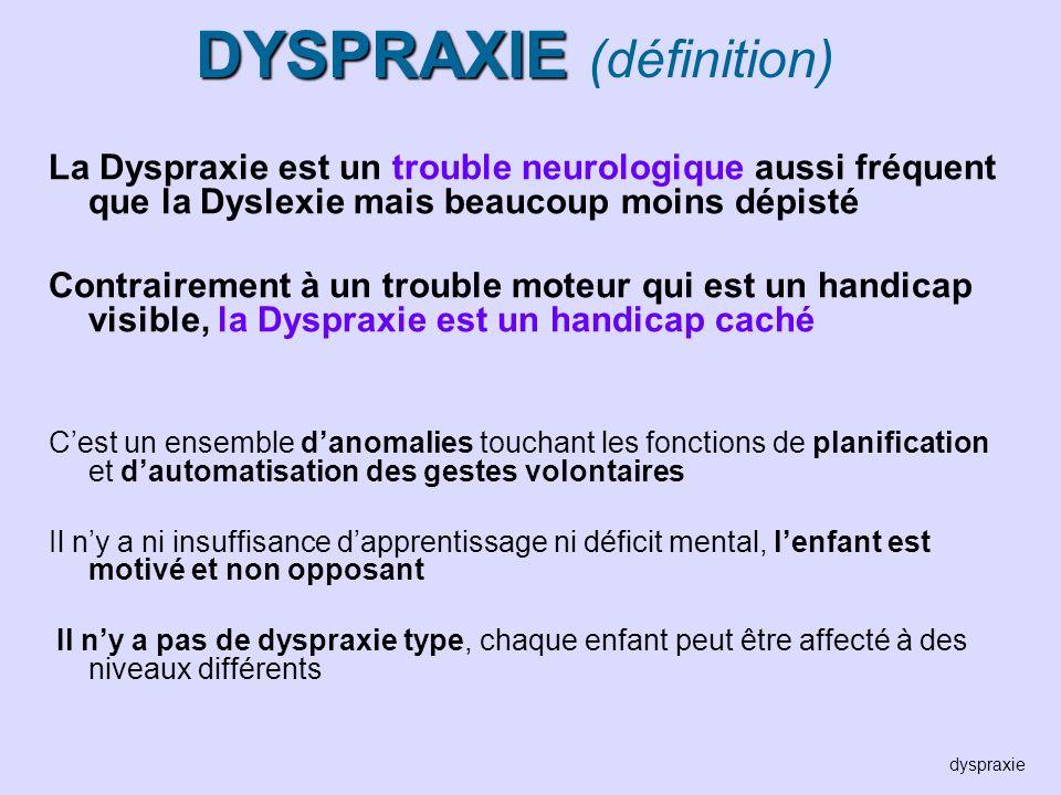 DYSPRAXIE DYSPRAXIE (définition) La Dyspraxie est un trouble neurologique aussi fréquent que la Dyslexie mais beaucoup moins dépisté Contrairement à u