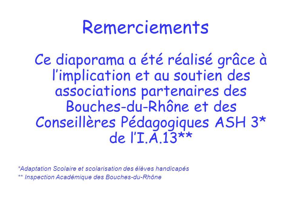 Remerciements Ce diaporama a été réalisé grâce à limplication et au soutien des associations partenaires des Bouches-du-Rhône et des Conseillères Péda