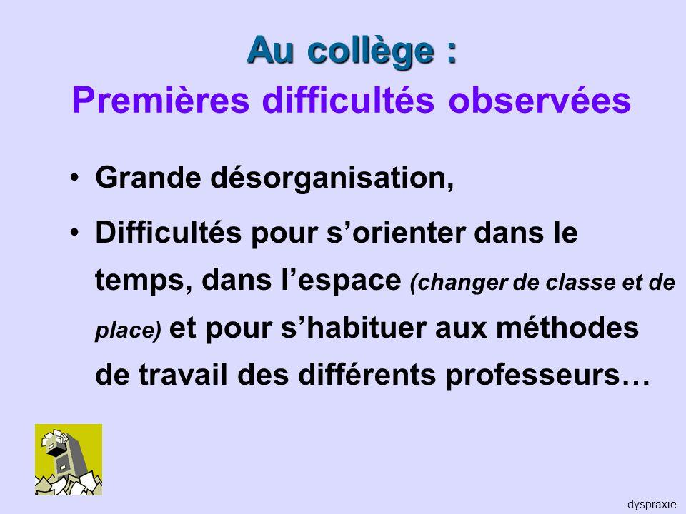 Au collège : Au collège : Premières difficultés observées Grande désorganisation, Difficultés pour sorienter dans le temps, dans lespace (changer de c
