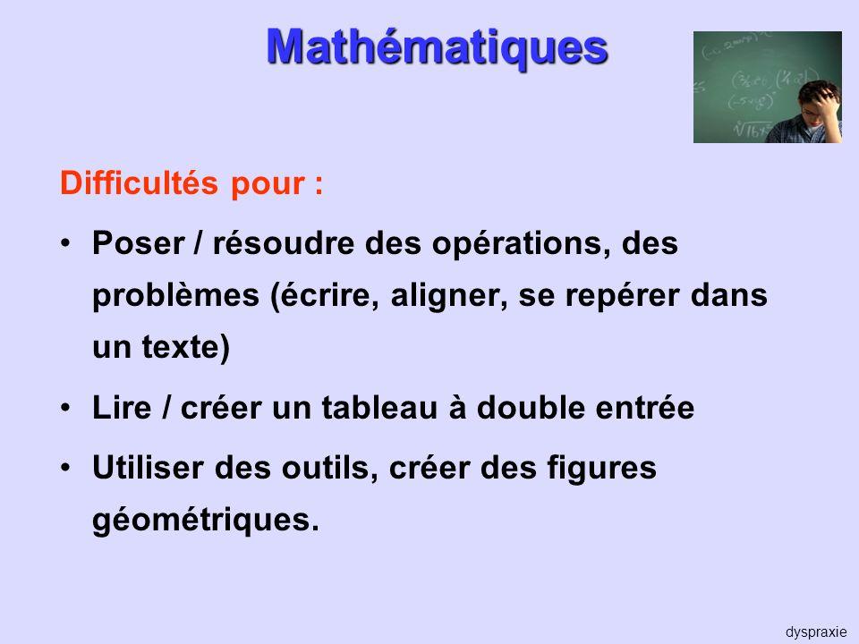 Mathématiques Difficultés pour : Poser / résoudre des opérations, des problèmes (écrire, aligner, se repérer dans un texte) Lire / créer un tableau à
