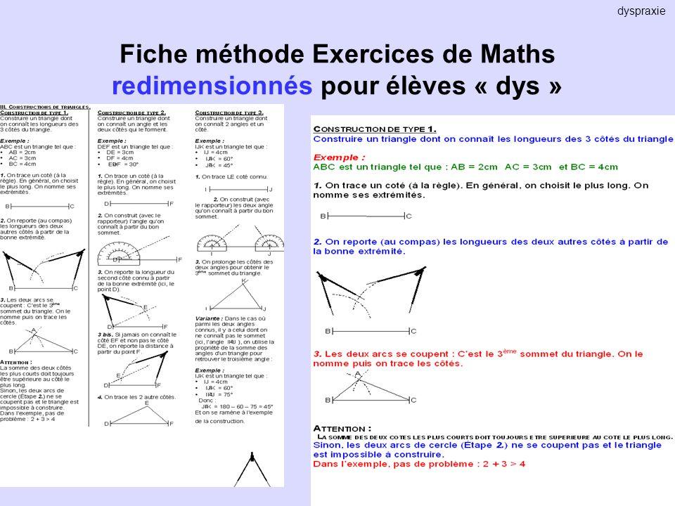 Fiche méthode Exercices de Maths redimensionnés pour élèves « dys » dyspraxie