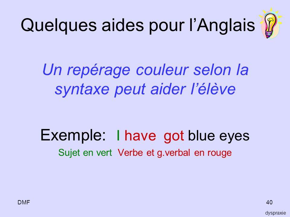 DMF40 Quelques aides pour lAnglais Un repérage couleur selon la syntaxe peut aider lélève Exemple: I have got blue eyes Sujet en vert Verbe et g.verba