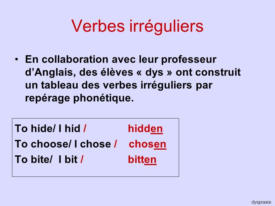 Verbes irréguliers En collaboration avec leur professeur dAnglais, des élèves « dys » ont construit un tableau des verbes irréguliers par repérage pho