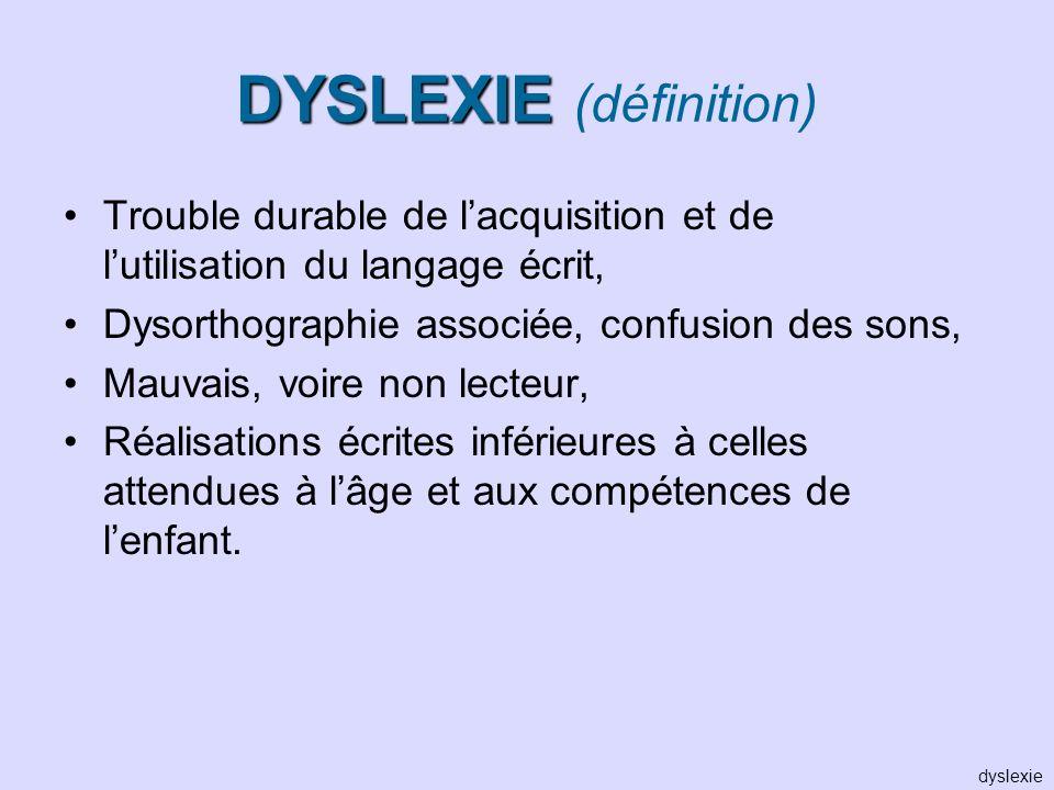 DYSLEXIE DYSLEXIE (définition) Trouble durable de lacquisition et de lutilisation du langage écrit, Dysorthographie associée, confusion des sons, Mauv