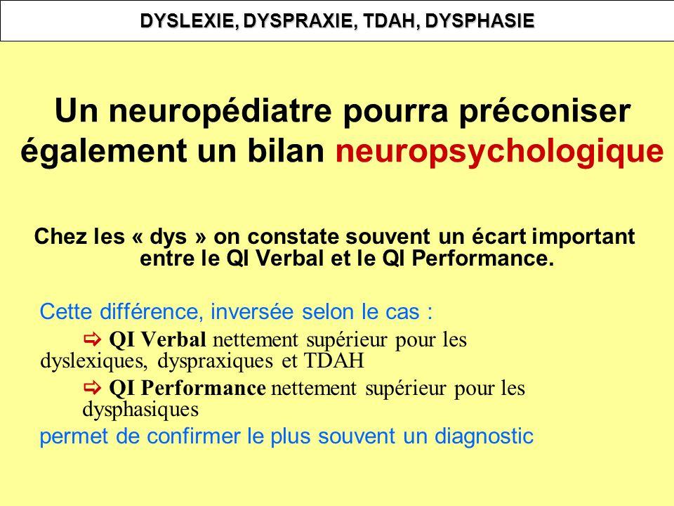 Un neuropédiatre pourra préconiser également un bilan neuropsychologique Chez les « dys » on constate souvent un écart important entre le QI Verbal et