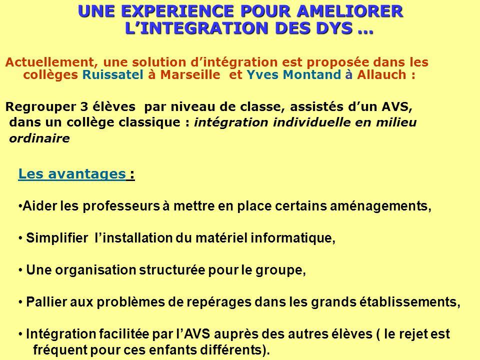 UNE EXPERIENCE POUR AMELIORER LINTEGRATION DES DYS … Actuellement, une solution dintégration est proposée dans les collèges Ruissatel à Marseille et Y