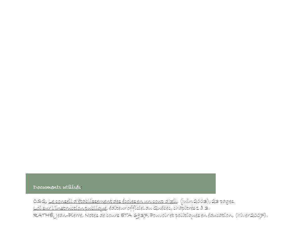 Documents utilisés: CSQ, Le conseil détablissement des écoles en un coup dœil, (juin 2003), 23 pages.