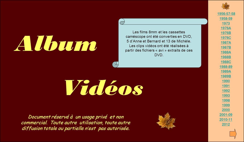 Album Vidéos 1956-57-58 1958-59 1973 1976A 1976B 1976C 1987A 1987B 1988A 1988B 1988C 1988-89 1989A 1989B 1990 1991 1992 1993 1998 1999 2000 2001-09 20