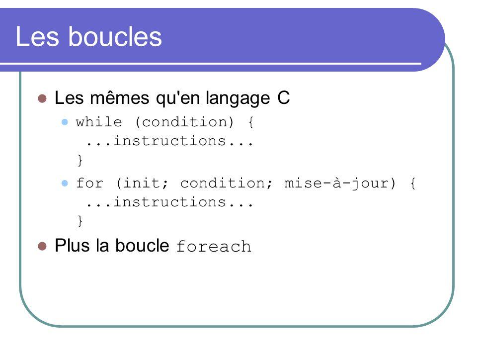 Les boucles Les mêmes qu en langage C while (condition) {...instructions...