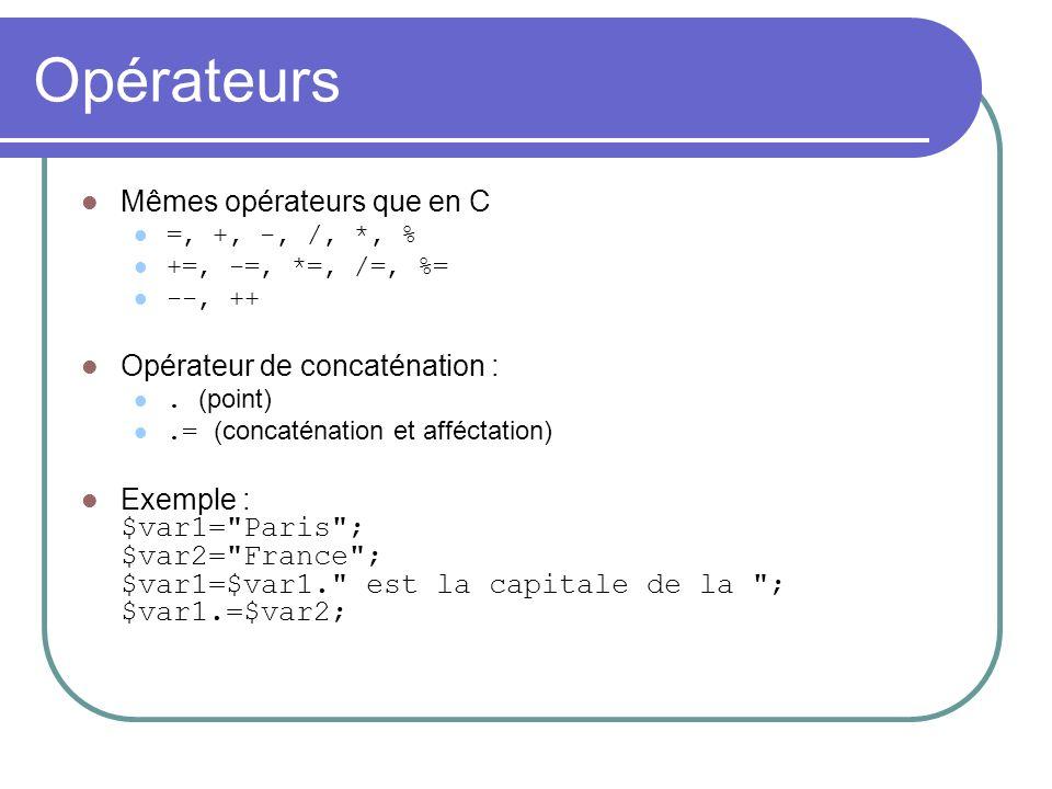 Opérateurs Mêmes opérateurs que en C =, +, -, /, *, % +=, -=, *=, /=, %= --, ++ Opérateur de concaténation :.