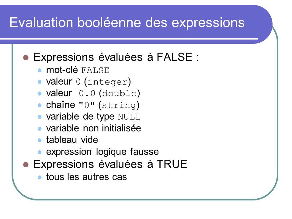 Evaluation booléenne des expressions Expressions évaluées à FALSE : mot-clé FALSE valeur 0 ( integer ) valeur 0.0 ( double ) chaîne 0 ( string ) variable de type NULL variable non initialisée tableau vide expression logique fausse Expressions évaluées à TRUE tous les autres cas
