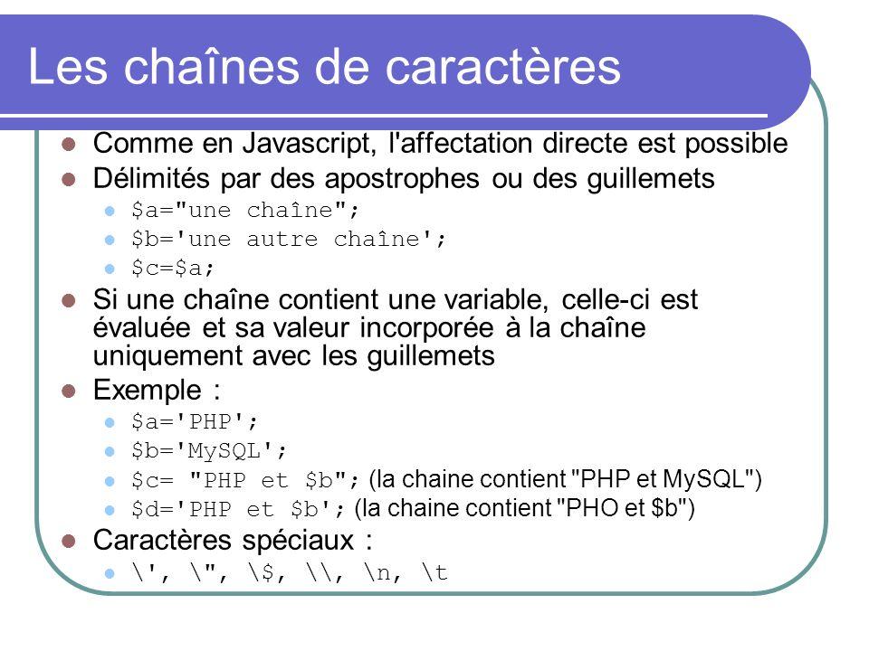 Les chaînes de caractères Comme en Javascript, l affectation directe est possible Délimités par des apostrophes ou des guillemets $a= une chaîne ; $b= une autre chaîne ; $c=$a; Si une chaîne contient une variable, celle-ci est évaluée et sa valeur incorporée à la chaîne uniquement avec les guillemets Exemple : $a= PHP ; $b= MySQL ; $c= PHP et $b ; (la chaine contient PHP et MySQL ) $d= PHP et $b ; (la chaine contient PHO et $b ) Caractères spéciaux : \ , \ , \$, \\, \n, \t