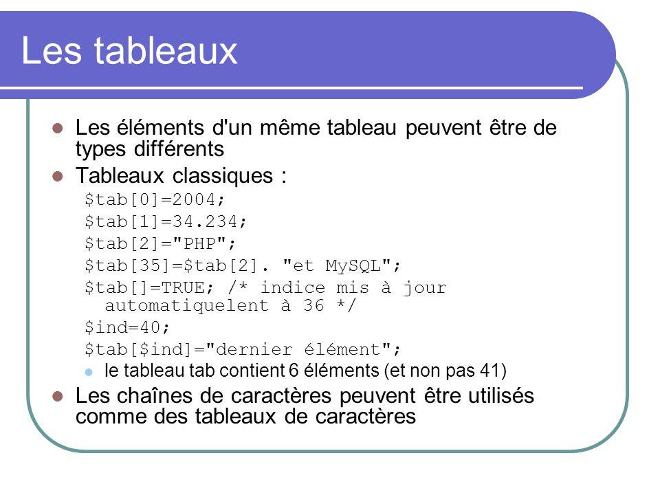 Les tableaux Les éléments d un même tableau peuvent être de types différents Tableaux classiques : $tab[0]=2004; $tab[1]=34.234; $tab[2]= PHP ; $tab[35]=$tab[2].