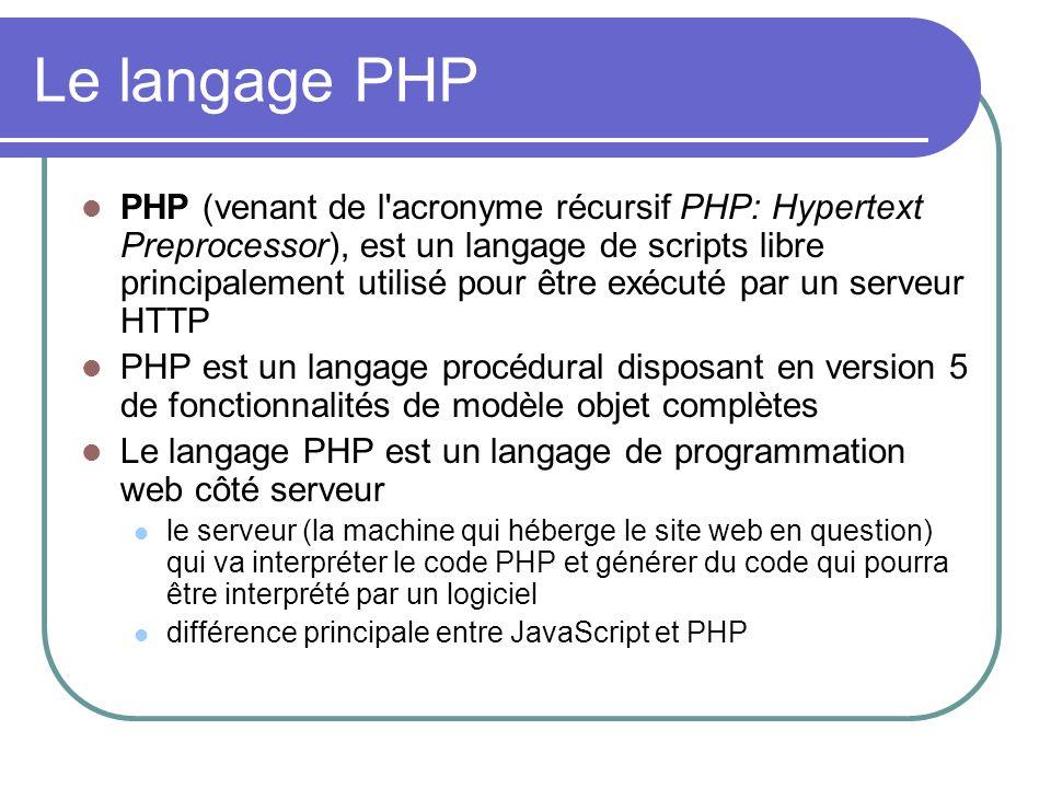 Le langage PHP PHP (venant de l acronyme récursif PHP: Hypertext Preprocessor), est un langage de scripts libre principalement utilisé pour être exécuté par un serveur HTTP PHP est un langage procédural disposant en version 5 de fonctionnalités de modèle objet complètes Le langage PHP est un langage de programmation web côté serveur le serveur (la machine qui héberge le site web en question) qui va interpréter le code PHP et générer du code qui pourra être interprété par un logiciel différence principale entre JavaScript et PHP