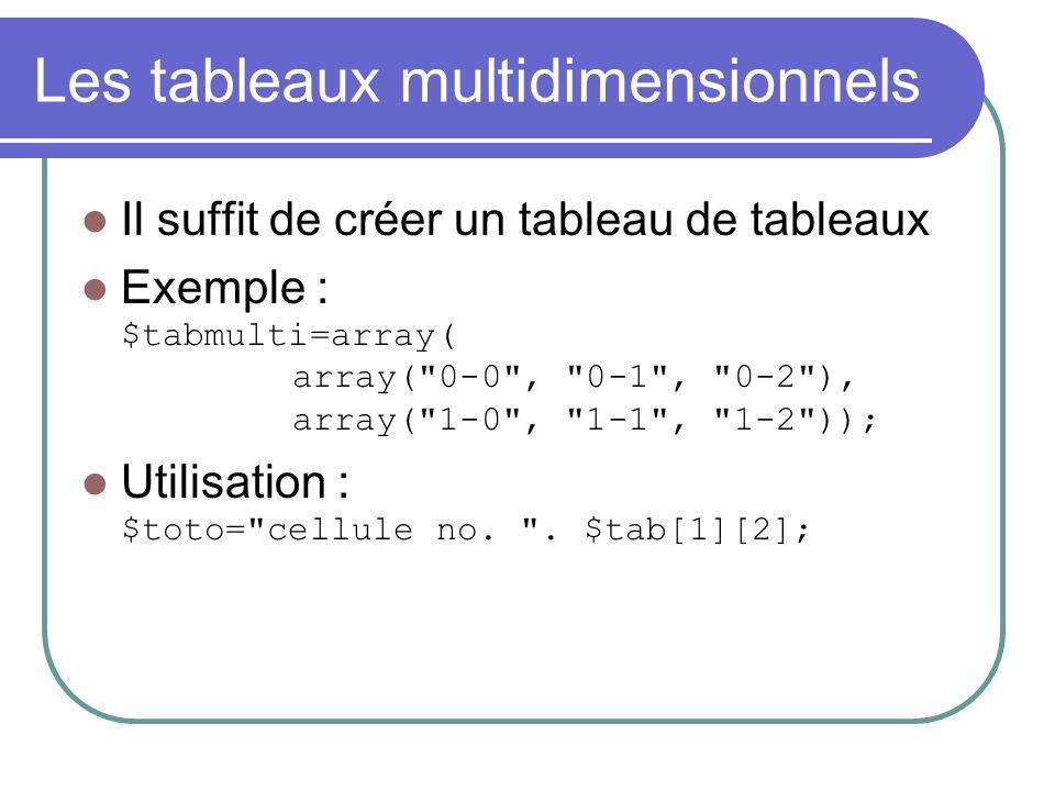 Les tableaux multidimensionnels Il suffit de créer un tableau de tableaux Exemple : $tabmulti=array( array( 0-0 , 0-1 , 0-2 ), array( 1-0 , 1-1 , 1-2 )); Utilisation : $toto= cellule no.