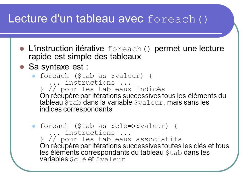 Lecture d un tableau avec foreach() L instruction itérative foreach() permet une lecture rapide est simple des tableaux Sa syntaxe est : foreach ($tab as $valeur) {...