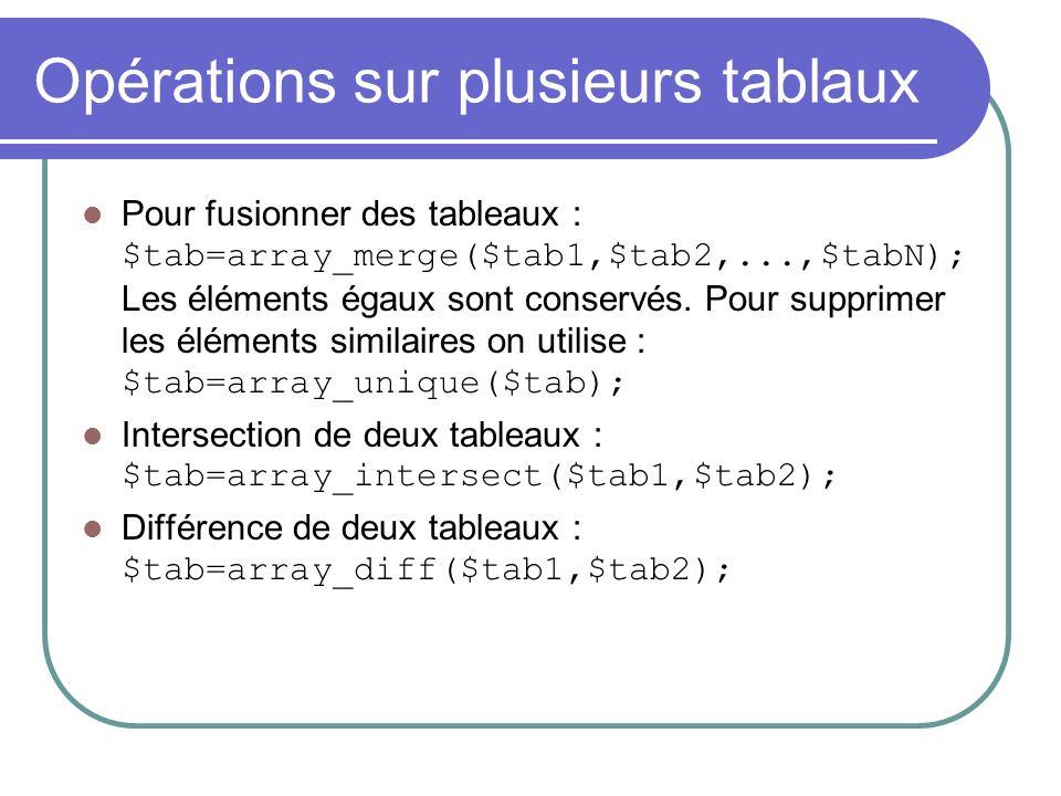 Opérations sur plusieurs tablaux Pour fusionner des tableaux : $tab=array_merge($tab1,$tab2,...,$tabN); Les éléments égaux sont conservés.