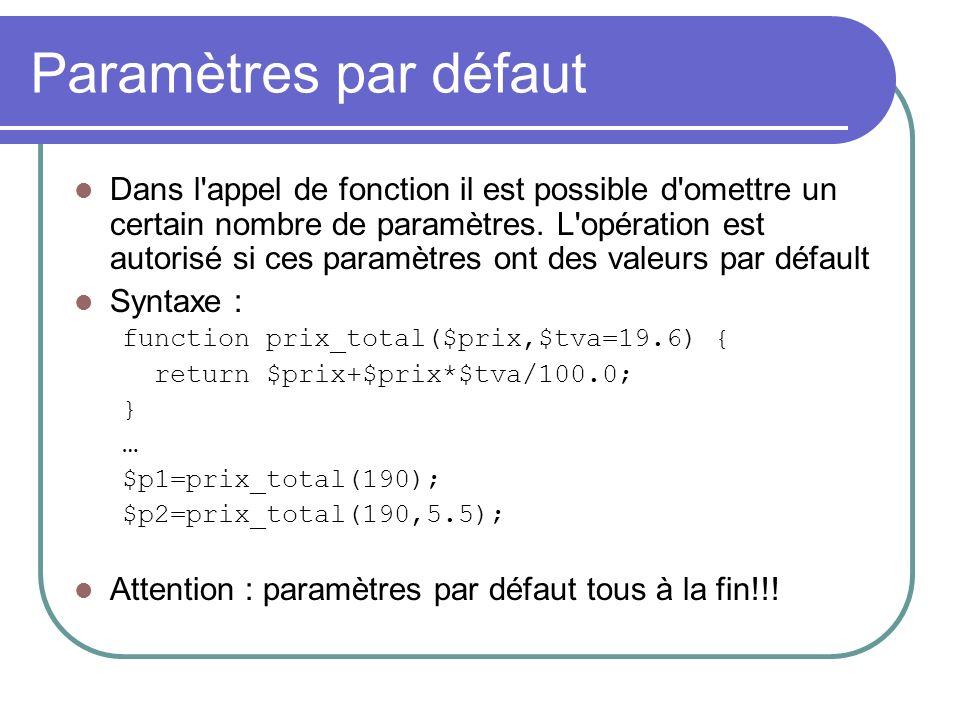 Paramètres par défaut Dans l appel de fonction il est possible d omettre un certain nombre de paramètres.