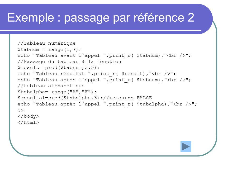Exemple : passage par référence 2 //Tableau numérique $tabnum = range(1,7); echo Tableau avant l appel ,print_r( $tabnum), ; //Passage du tableau à la fonction $result= prod($tabnum,3.5); echo Tableau résultat ,print_r( $result), ; echo Tableau après l appel ,print_r( $tabnum), ; //tableau alphabétique $tabalpha= range( A , F ); $resultal=prod($tabalpha,3);//retourne FALSE echo Tableau après l appel ,print_r( $tabalpha), ; >