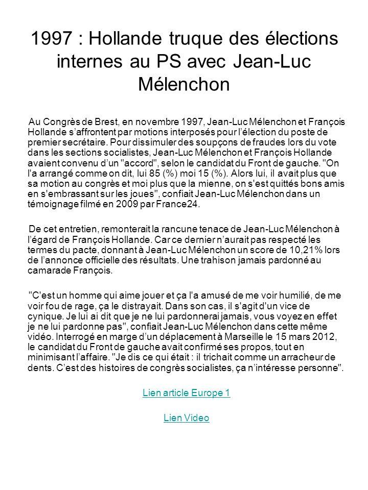 1997 : Hollande truque des élections internes au PS avec Jean-Luc Mélenchon Au Congrès de Brest, en novembre 1997, Jean-Luc Mélenchon et François Hollande saffrontent par motions interposés pour lélection du poste de premier secrétaire.