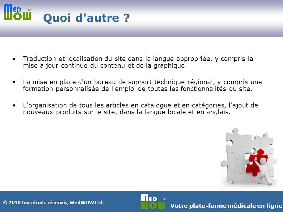 © 2010 Tous droits réservés, MedWOW Ltd. Votre plate-forme médicale en ligne Quoi d autre .