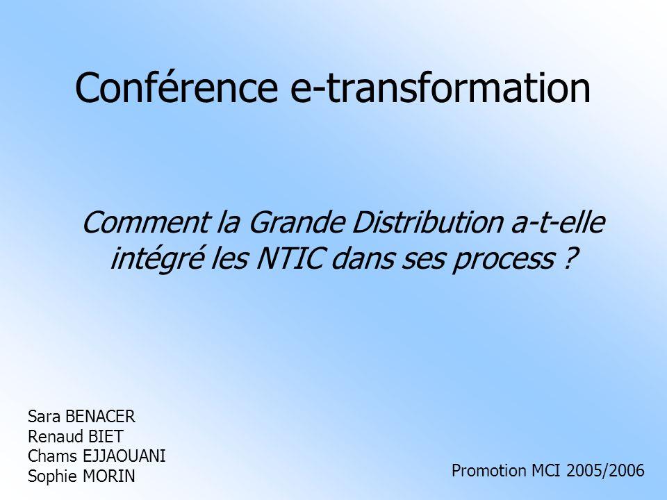 07/02/06Conférence e-transformation MCI : la grande distribution22 2.5/ Le CRM 2.5.3/ Du CRM au e-CRM Élément déclencheur : arrivée dans lère du multicanal Besoin de coordonner les différents moyens dinteraction et davoir des informations homogènes et pertinentes sur chaque client.