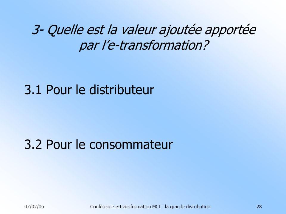07/02/06Conférence e-transformation MCI : la grande distribution28 3- Quelle est la valeur ajoutée apportée par le-transformation.