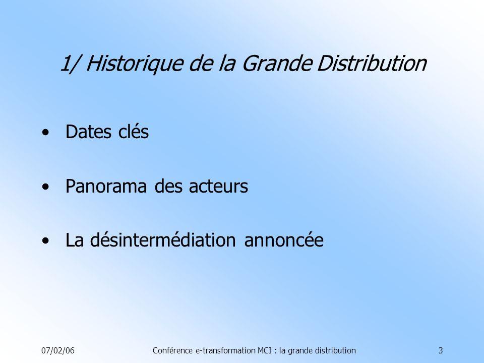 07/02/06Conférence e-transformation MCI : la grande distribution24 2.5.4/ Les outils du CRM Automatisation des forces de vente élément majeur de lautomatisation: la gestion des contacts Prospection et vente sont suivies en temps réel Fiches clients avec infos précises sur historiques dachat, habitudes de consommation (meilleure maîtrise de la relation pour une meilleure personnalisation) Principaux éditeurs: Frontrange, Pivotal, Selligent, SAS 2.5/ Le CRM 2- Les métiers touchés par le-transformation