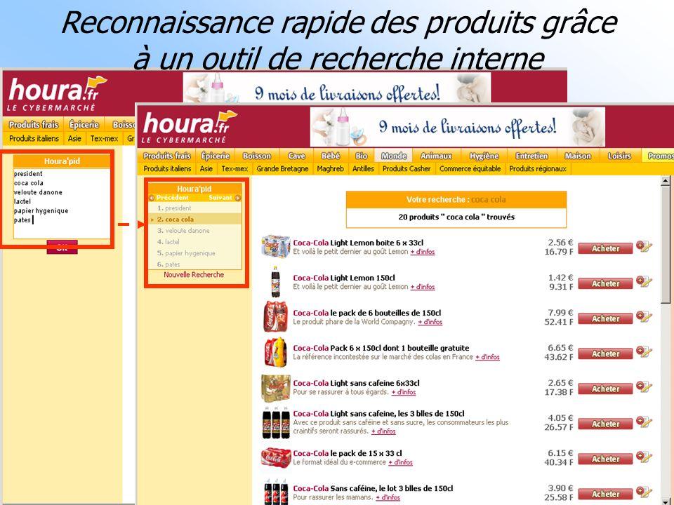 07/02/06Conférence e-transformation MCI : la grande distribution36 Reconnaissance rapide des produits grâce à un outil de recherche interne