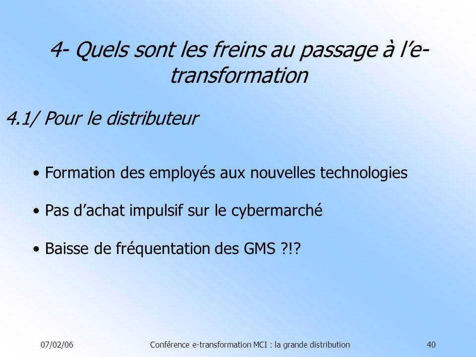07/02/06Conférence e-transformation MCI : la grande distribution40 4.1/ Pour le distributeur Formation des employés aux nouvelles technologies Pas dachat impulsif sur le cybermarché Baisse de fréquentation des GMS ?!.