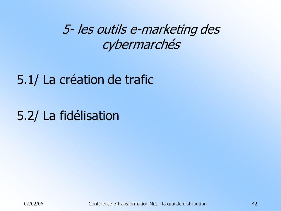07/02/06Conférence e-transformation MCI : la grande distribution42 5.1/ La création de trafic 5.2/ La fidélisation 5- les outils e-marketing des cybermarchés
