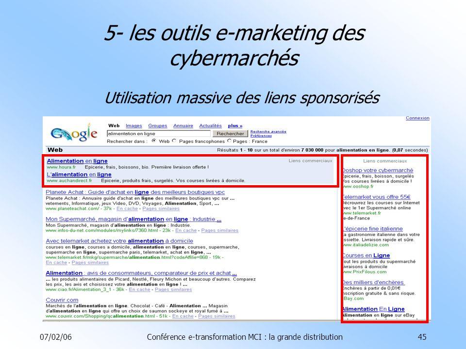 07/02/06Conférence e-transformation MCI : la grande distribution45 5- les outils e-marketing des cybermarchés Utilisation massive des liens sponsorisés