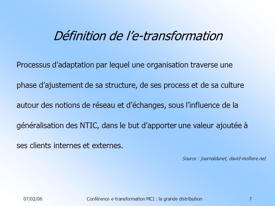 07/02/06Conférence e-transformation MCI : la grande distribution7 Définition de le-transformation Processus dadaptation par lequel une organisation traverse une phase dajustement de sa structure, de ses process et de sa culture autour des notions de réseau et déchanges, sous linfluence de la généralisation des NTIC, dans le but dapporter une valeur ajoutée à ses clients internes et externes.
