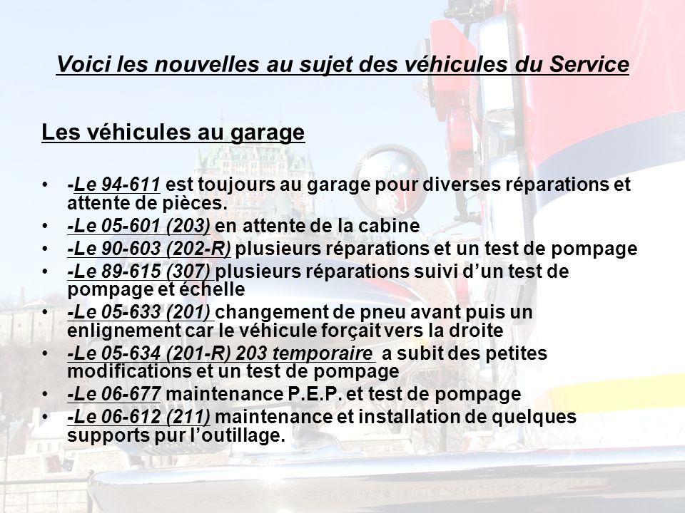 Voici les nouvelles au sujet des véhicules du Service Les véhicules au garage -Le 94-611 est toujours au garage pour diverses réparations et attente de pièces.