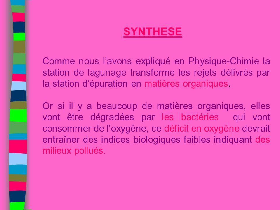 Comme nous lavons expliqué en Physique-Chimie la station de lagunage transforme les rejets délivrés par la station dépuration en matières organiques.