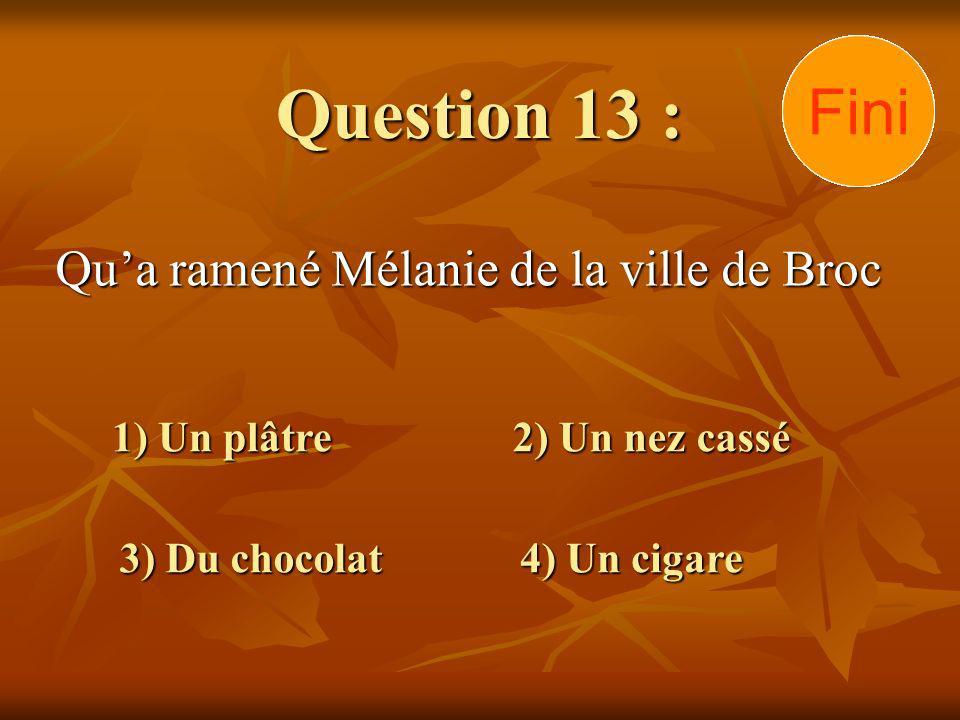 Question 13 : Qua ramené Mélanie de la ville de Broc 1) Un plâtre 3) Du chocolat 2) Un nez cassé 4) Un cigare 302928272625242322212019181716151413121110 9876 54321 Fini