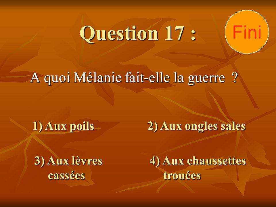 Question 17 : A quoi Mélanie fait-elle la guerre .