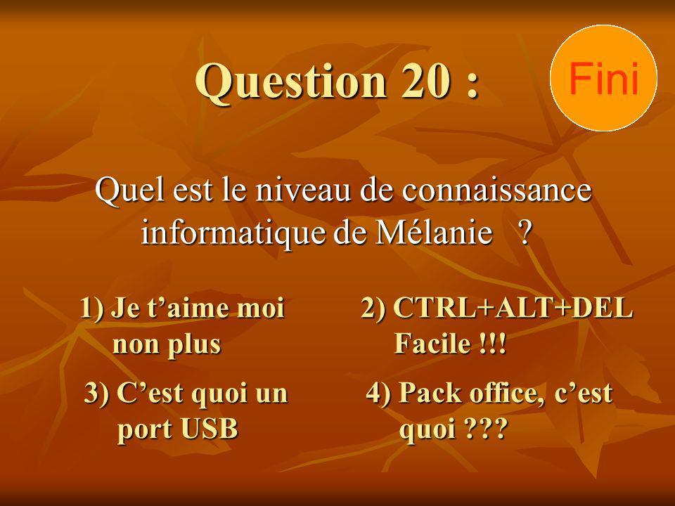 Question 20 : Quel est le niveau de connaissance informatique de Mélanie ? 1) Je taime moi non plus 3) Cest quoi un port USB 2) CTRL+ALT+DEL Facile !!