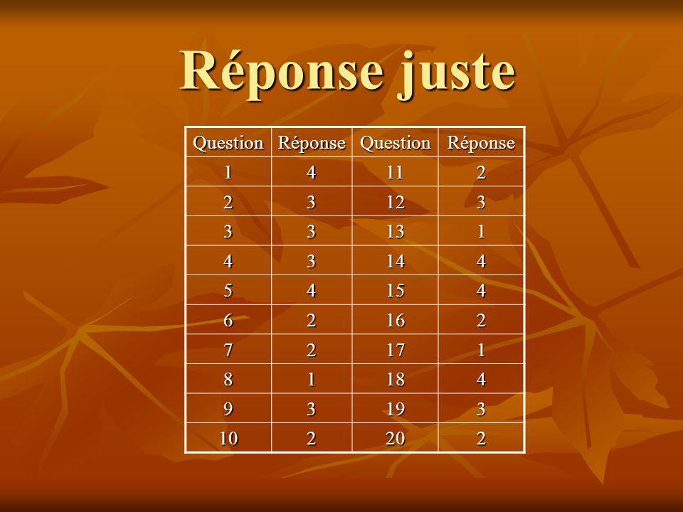 Réponse juste QuestionRéponseQuestionRéponse 1 4 11 2 2 3 12 3 3 3 13 1 4 3 14 4 5 4 15 4 6 2 16 2 7 2 17 1 8 1 18 4 9 3 19 3 10 2 20 2