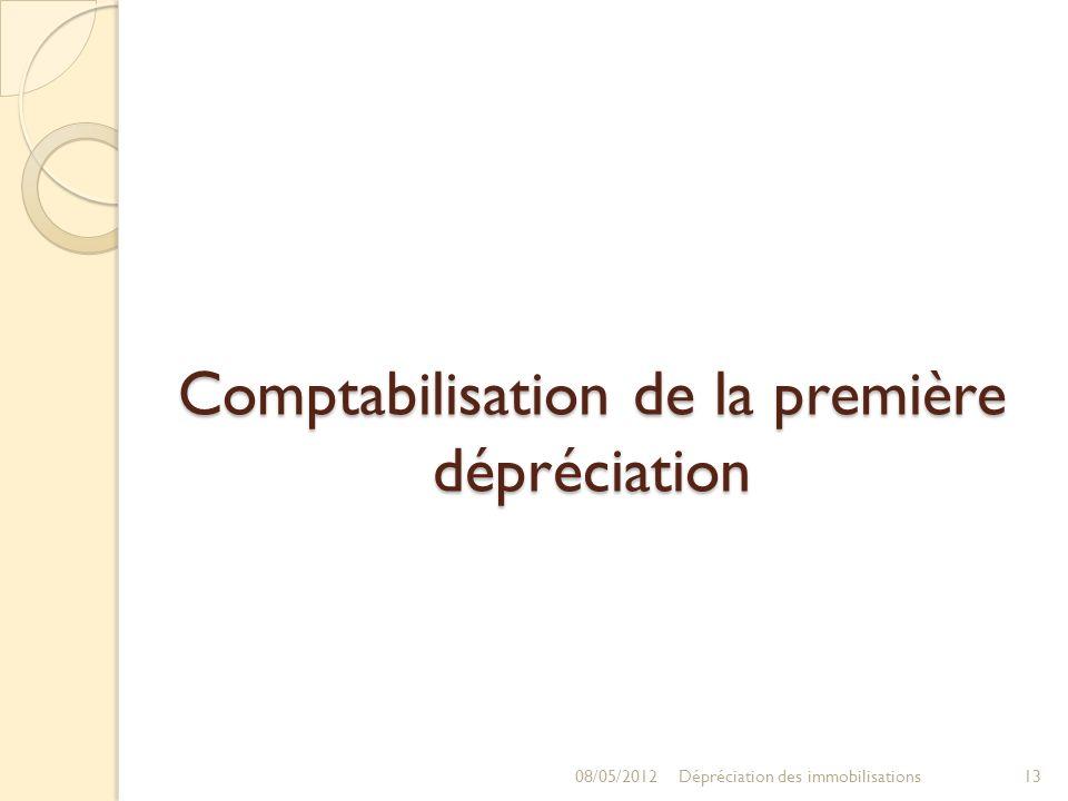Comptabilisation de la première dépréciation 08/05/201213Dépréciation des immobilisations