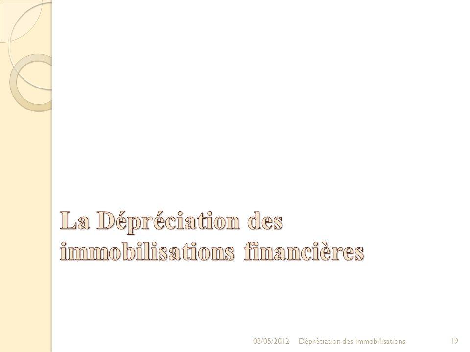 08/05/201219Dépréciation des immobilisations