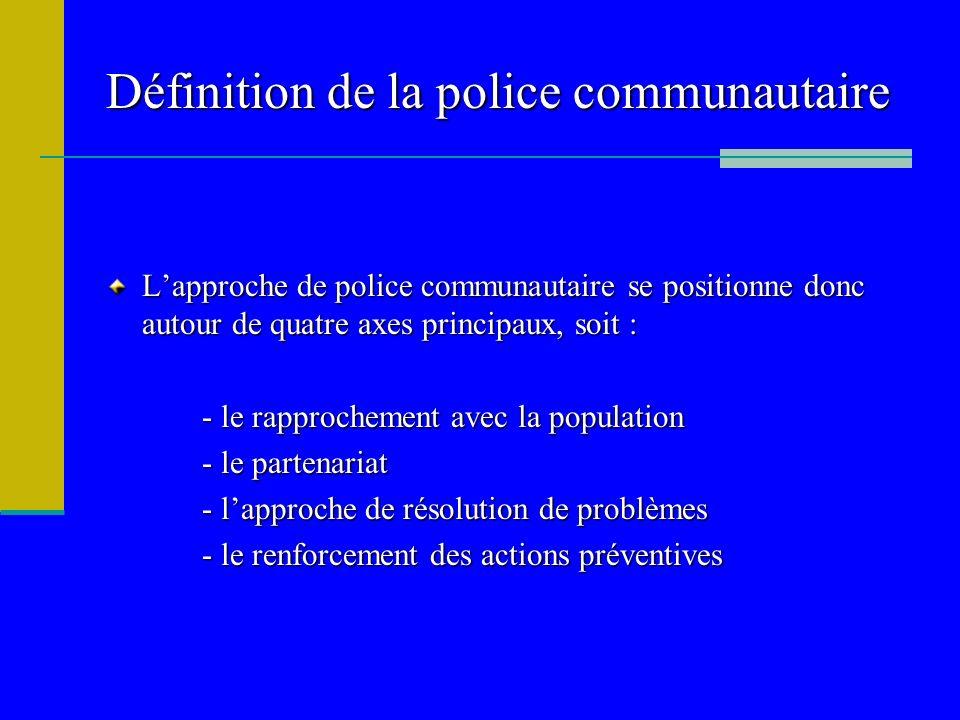 Définition de la police communautaire Lapproche de police communautaire se positionne donc autour de quatre axes principaux, soit : - le rapprochement