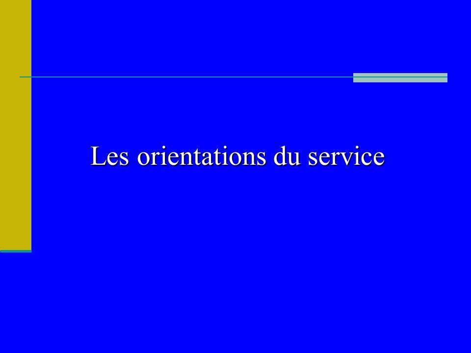 Lesorientations du service Les orientations du service