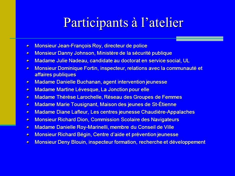 Participants à latelier Monsieur Jean-François Roy, directeur de police Monsieur Danny Johnson, Ministère de la sécurité publique Madame Julie Nadeau,