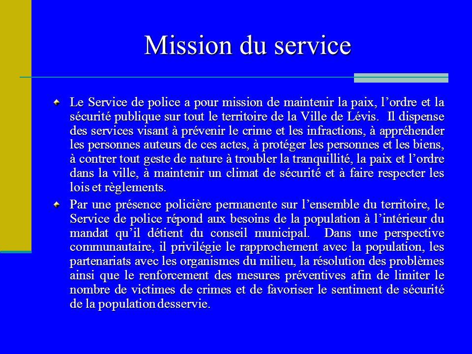 Mission du service Le Service de police a pour mission de maintenir la paix, lordre et la sécurité publique sur tout le territoire de la Ville de Lévi